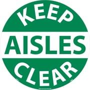 """Floor Sign, Walk On, Keep Aisles Clear, 17"""" Dia"""