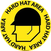"Floor Sign, Walk On, Hard Hat Area, 17"" Dia"