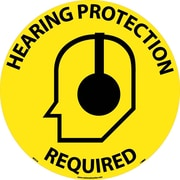 "Floor Sign, Walk On, Hearing Protection Required, 17"" Dia"