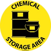 "Floor Sign, Walk On, Chemical Storage Area, 17"" Dia"