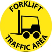"Floor Sign, Walk On, Forklift Traffic Area, 17"" Dia"