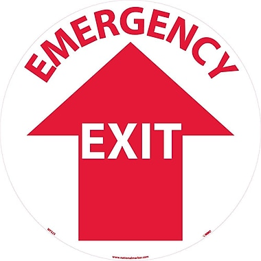 Floor Sign, Walk On, Emergency Exit, 17 Dia, Ps Vinyl