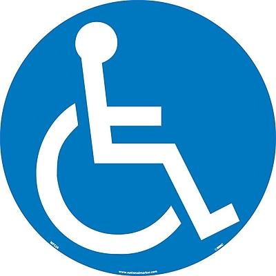 Floor Sign, Walk On, Handicapped Symbol, 17 Dia, Ps Vinyl