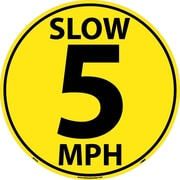 Floor Sign, Walk On, Slow 5 Mph, 17 Dia, Ps Vinyl