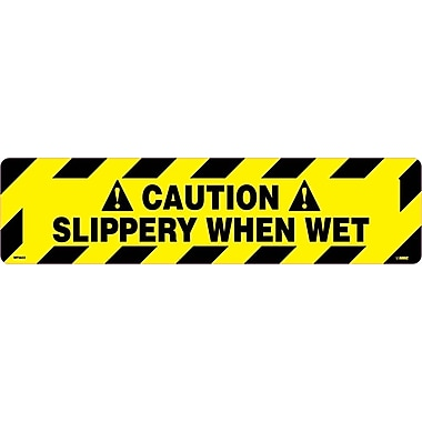 Floor Sign, Walk On, Caution Slippery When Wet, 6X24