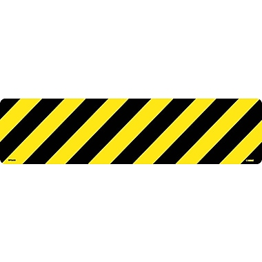 Floor Sign, Walk On, Black/Yellow Stripe, 6X24