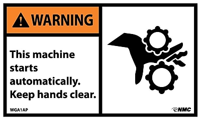 Warning, This Machine Starts Automatically..(Graphic), 3X5, Adhesive Vinyl, 5/Pk