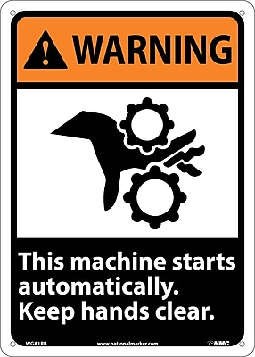 Warning, This Machine Starts Automatically Keep Hands Clear (W/Graphic), 14X10, Rigid Plastic