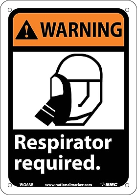 Warning, Respirator Required (W/Graphic), 10X7, Rigid Plastic