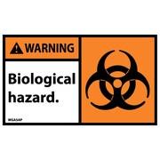 Warning, Biological Hazard (Graphic), 3X5, Adhesive Vinyl, 5/Pk