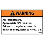 Warning, Arc Flash Hazard .., 3X5, Adhesive Vinyl, 5/Pk