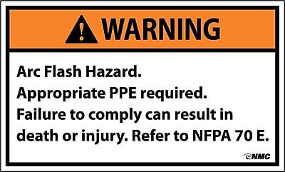 Warning, Arc Flash Hazard .., 3X5, Adhesive Vinyl, 5/Pk