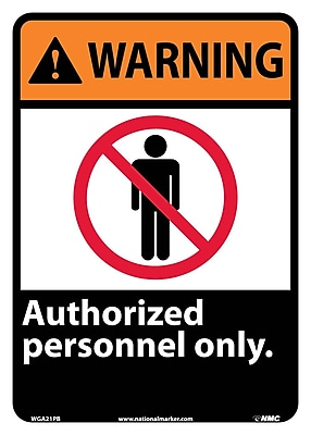 Warning, Authorized Personnel Only, 14X10, Adhesive Vinyl