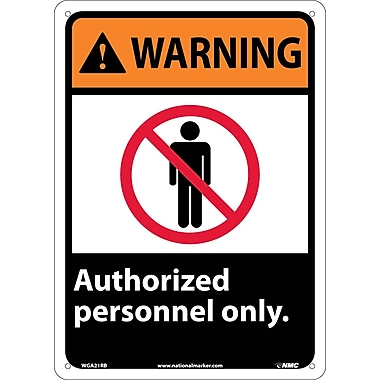 Warning, Authorized Personnel Only, 14X10, Rigid Plastic