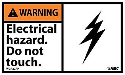 Warning, Electrical Hazard Do Not Touch, 3X5, Adhesive Vinyl, 5/Pk