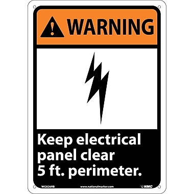 Warning, Keep Electrical Panel Clear 5 Ft. Perimeter, 14X10, Rigid Plastic