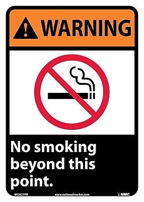 Warning, No Smoking Beyond This Point, 14X10, Adhesive Vinyl