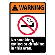 Warning, No Smoking, Eating Or Drinking In This Area, 14X10, .040 Aluminum