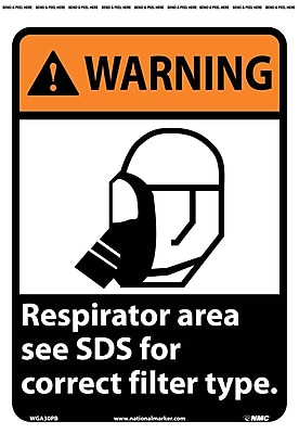 Warning, Respirator Area See Msds For Correct Filter Type, 14X10, Adhesive Vinyl