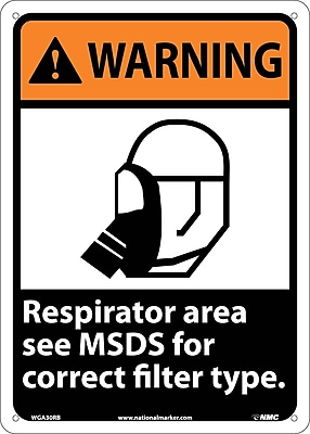 Warning, Respirator Area See Msds For Correct Filter Type, 14X10, Rigid Plastic