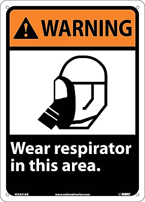 Warning, Wear Respirator In This Area, 14X10, .040 Aluminum
