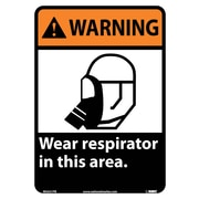 Warning, Wear Respirator In This Area, 14X10, Adhesive Vinyl