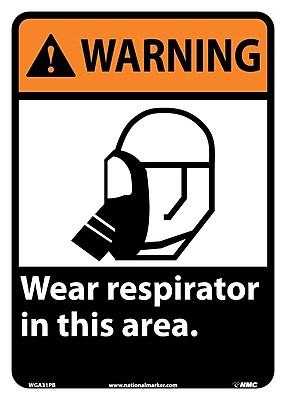 Warning, Wear Respirator In This Area, 14X10, Adhesive Vinyl