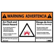 Warning, Arc Flash And Shock Hazard, Bilingual, (Graphic), 3X5, Adhesive Vinyl, 5/Pk