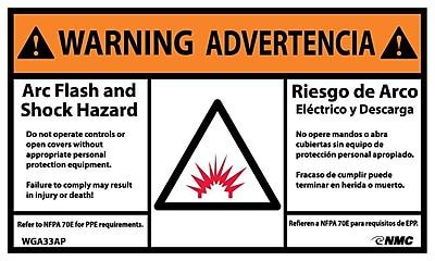 Warning, Arc Flash And Shock Hazard, Bilingual, (Graphic), 3X5, Adhesive Vinyl, 5/Pk