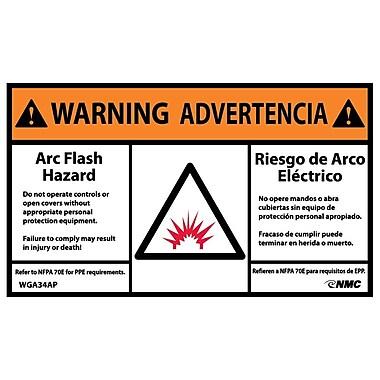 Warning, Arc Flash Hazard, Bilingual, (Graphic), 3X5, Adhesive Vinyl, 5/Pk