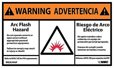 Warning, Arc Flash Hazard, Bilingual, (Graphic), 3X5, Adhesive Vinyl, 5/Pk