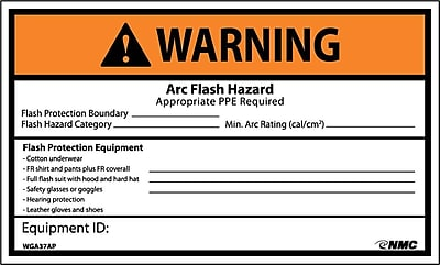 Warning, Arc Flash Hazard Appropriate Ppe Required 3X5, Adhesive Vinyl, 5/Pk
