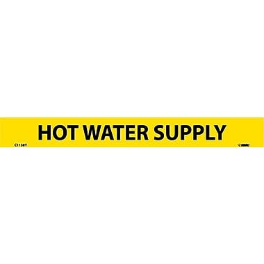 Pipemarker, Adhesive Vinyl, Hot Water Supply, 1X9 1/2