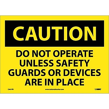 Caution, Do Not Operate Unless Safety Guards Or Devices Are In Place, 10X14, Adhesive Vinyl