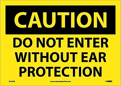 Caution, Do Not Enter Without Ear Protection, 10X14, Adhesive Vinyl