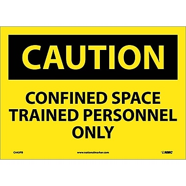 Caution, Confined Space Trained Personnel Only, 10X14, Adhesive Vinyl