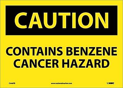 Caution, Contains Benzene Cancer Hazard, 10X14, Adhesive Vinyl