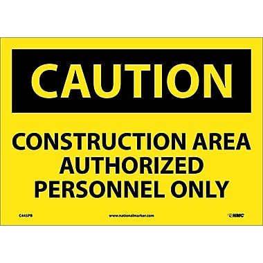 Caution, Construction Area Authorized Personnel Only, 10X14, Adhesive Vinyl