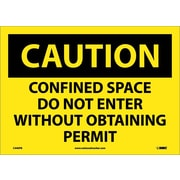 Caution, Confined Space Do Not Enter Without Obtaining Permit, 10X14, Adhesive Vinyl