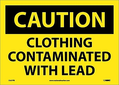 Caution, Clothing Contaminated With Lead, 10X14, Adhesive Vinyl