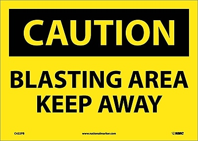 Caution, Blasting Area Keep Away, 10X14, Adhesive Vinyl