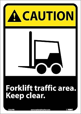 Caution, Forklift Traffic Area Keep Clear (W/Graphic), 14X10, Adhesive Vinyl