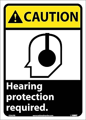 Caution, Hearing Protection Required (W/Graphic), 14X10, Adhesive Vinyl