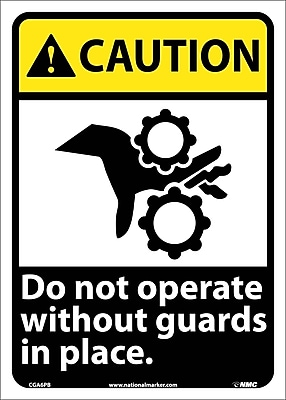 Caution, Do Not Operate Without Guards In Place (W/Graphic), 14X10, Adhesive Vinyl