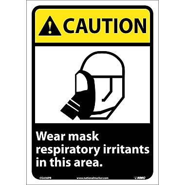 Caution, Wear Mask Respiratory Irritants In This Area, 14X10, Adhesive Vinyl