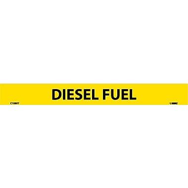 Panneau en vinyle adhésif pour tuyaux, 25/paquet, Diesel Fuel, 1 x 9 po, hauteur des capitales de 1/2 po, 25/paquet