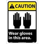Caution, Wear Gloves In This Area, 14X10, Adhesive Vinyl