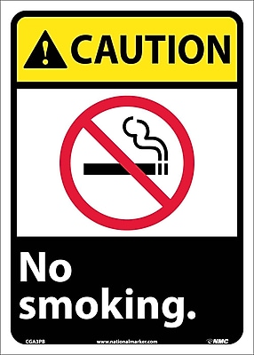 Caution, No Smoking (W/Graphic), 14X10, Adhesive Vinyl