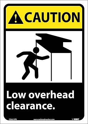 Caution, Low Overhead Clearance, 14X10, Adhesive Vinyl