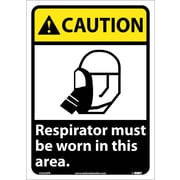 Caution, Respirator Must Be Worn In This Area, 14X10, Adhesive Vinyl